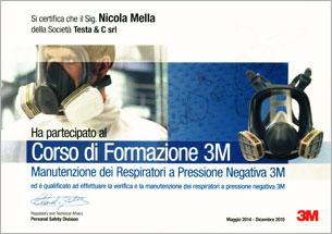 Attestato diploma azienda qualificata - Manutenzione Respiratori a Pressione Negativa
